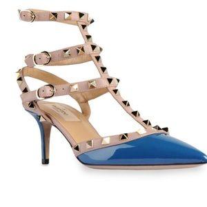 Valentino Rockstud Blue Patent Leather Slingback